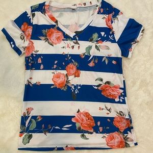 NWOT Amazon Basic Floral Striped Tee Top sz M